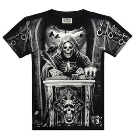 Fashion Mens 3 D Print Skull Round Tops Graphic Casual T Shirt Goth Punk Tee