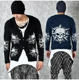 Skull Printing Fur Knit Short Cardigan 81