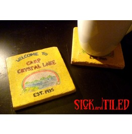 Welcome To Camp Crystal Lake Stone Drink Coaster Set 2 Friday The 13th