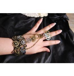 Steampunk Gears Wrist Cuff Retro Black Victorian Bracelet