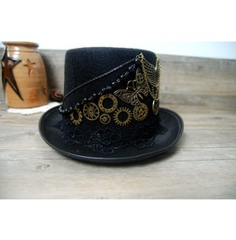Vintage Steampunk Black Top Men/Women Hat