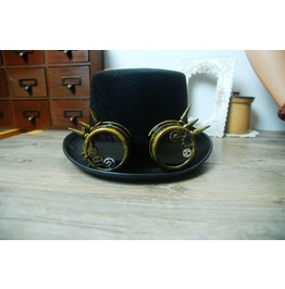 Steampunk Vintage Gears Glasses Black Top Hat