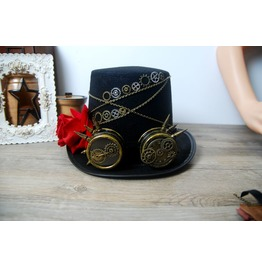 Steampunk Hat Gears Glasses Gothic Rose Floral Hat Victorian Cosplay
