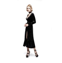 Gothic Burlesque Black Sexy Velvet Dress With Chooker