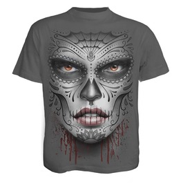 Spiral Mens Death Mask T Shirt Charcoal Ds135622