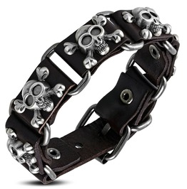 Dark Brown Leather Pirate Skull Crossbones Stud Belt Buckle Bracelet