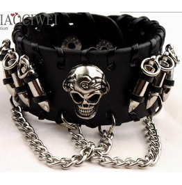 Leather Bracelet With Skull Head And Bullets