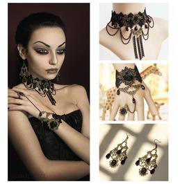 Handcraft Black Rose Lace Gothic Bracelet And Ring Necklace And Earing