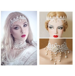 Handmade White Lace Sweet Gothic Hair Dress And Necklace