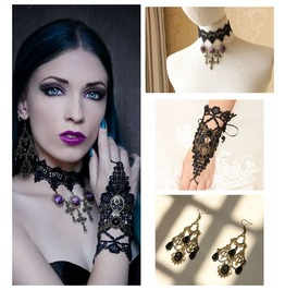 Black Lace Purple Rose Crossing Pendent Gothic Necklace Glove And Earings