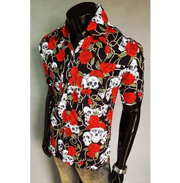 Men Shirt Skull Punk Rock Black Rose Short Sleeve Shirt Hi Quality