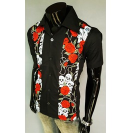 Black Shirt Men Punk Rock Black Rose Short Sleeve Shirt Hi Quality