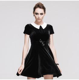 Devil Fashion Retro Preppy Chic Contrast Collar Velvet Dress With Belt 111