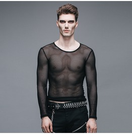 Devil Fashion Punk Rock Style Unisex Sheer Mesh Long Sleeved Tops 004