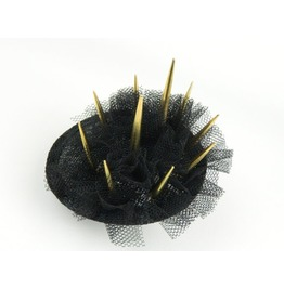 Stud Spike Crown Fascinator Headpiece With Gold Spikes And Veil
