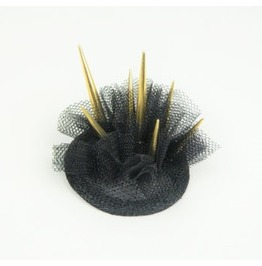 Mini Hair Clip Spike Stud Crown Headpiece With Gold Spikes And Veil