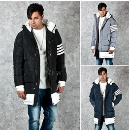 Stripe Arm Band Accent Cozy Padded High Neck Parka 26