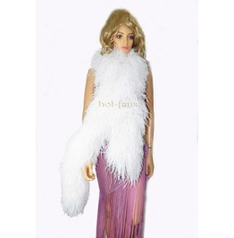 """White 20 Plys Fluffy Luxury Ostrich Feather Boa 71"""" Long (180 Cm)"""
