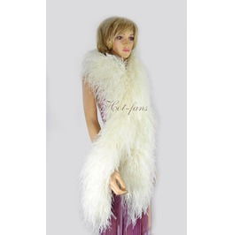"Beige 20 Plys Fluffy Luxury Ostrich Feather Boa 71"" Long (180 Cm)"