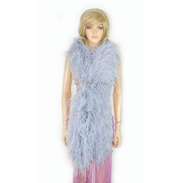 """Light Gray 20 Ply Full And Fluffy Luxury Ostrich Feather Boa 71"""" (180 Cm)"""