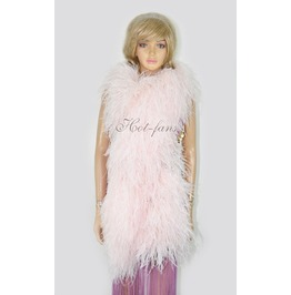 """Blush 20 Ply Full And Fluffy Luxury Ostrich Feather Boa 71"""" (180 Cm)"""