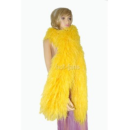 """Gold Yellow 20 Ply Full And Fluffy Luxury Ostrich Feather Boa 71"""" (180 Cm)"""