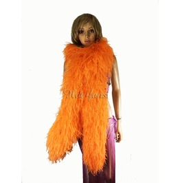 """Orange 20 Ply Full And Fluffy Luxury Ostrich Feather Boa 71"""" (180 Cm)"""