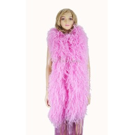 """Pink 20 Ply Full And Fluffy Luxury Ostrich Feather Boa 71"""" (180 Cm)"""