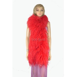 """Red 20 Ply Full And Fluffy Luxury Ostrich Feather Boa 71"""" (180 Cm)"""
