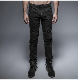 Punk Black Unique Armor Knee Men's Washing Jeans K239