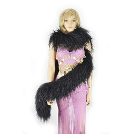 """Black 20 Ply Full And Fluffy Luxury Ostrich Feather Boa 71"""" (180 Cm)"""