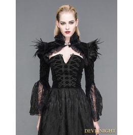 Black Vintage Gothic Short Feather Cape For Women Ca005