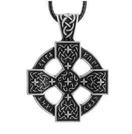 Viking Runes Cross Pendant Tibetan Silver