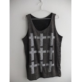 Row Of Crosses Pop Art Goth Stone Washed Punk Rock Tank Top