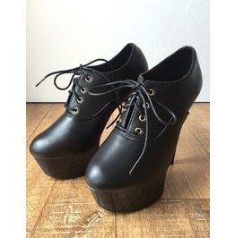 15cm Ankle Platform Ankle Oxford Bootie Extreme Hi Heel Goth Runway Custom