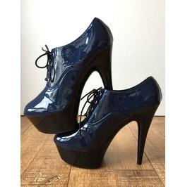 15cm Ankle Platform Indigo Blue Oxford Bootie Extreme Hi Heel Drag Queen