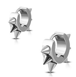 Stainless Steel Cone Spikes Hoop Huggie Earrings Pair