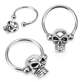 Skull Captive 316 L Surgical Steel Horseshoe Circular Barbell Single Piece