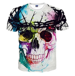 Punk Rock Style 3d Skull Print Men's Tshirts