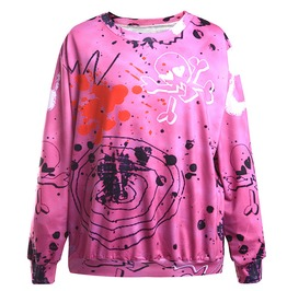 3 D Pink Skull Printed Cool Women Sweatshirts