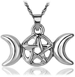 Silver Plated Triple Moon Wicca Necklace