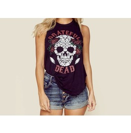 Fashion Sugar Skull Printed Women Tank Tops