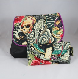 Skull And Snake Zen Charmer Kelsi Ii Cross Body Purse With Geisha Wallet
