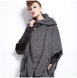 Women's Striped Bat Sleeve Loose Cardigan Coat