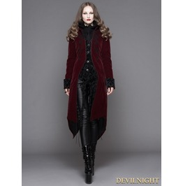 Wine Red Gothic Palace Style Long Coat For Women Ct04102