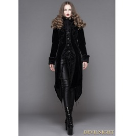 Black Gothic Palace Style Long Coat For Women Ct04101