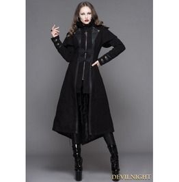 Black Vintage Gothic Long Cape Design Coat For Women Ct043