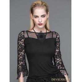 Black 3/4 Sleeves Gothic Halter Shirt For Women Tt044
