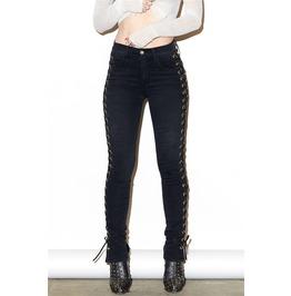 New Fashion Women Side Bandage Lace Up Jeans