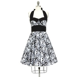 Rockabilly Skull Dress Pin Up Dress Steampunk Gothic Halloween Party Dress